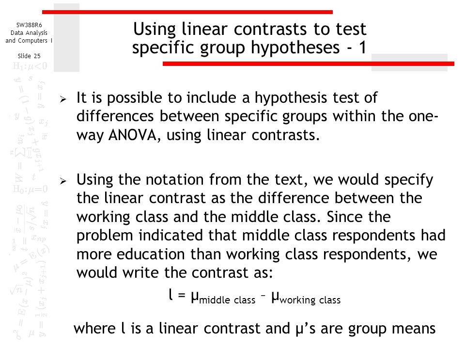 Using linear contrasts to test specific group hypotheses - 1