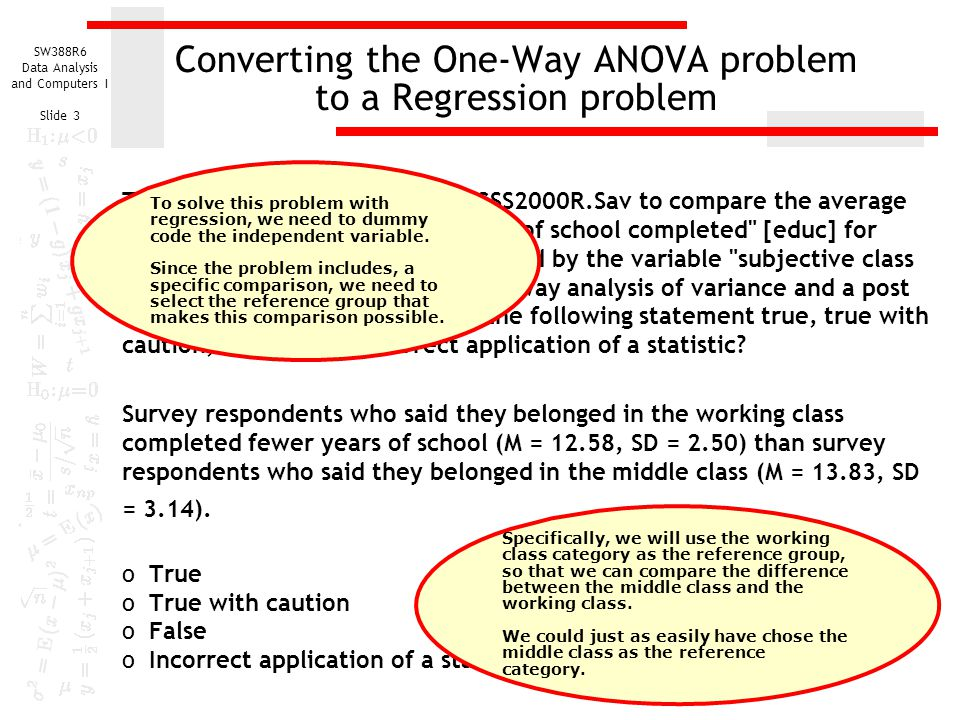 Converting the One-Way ANOVA problem to a Regression problem
