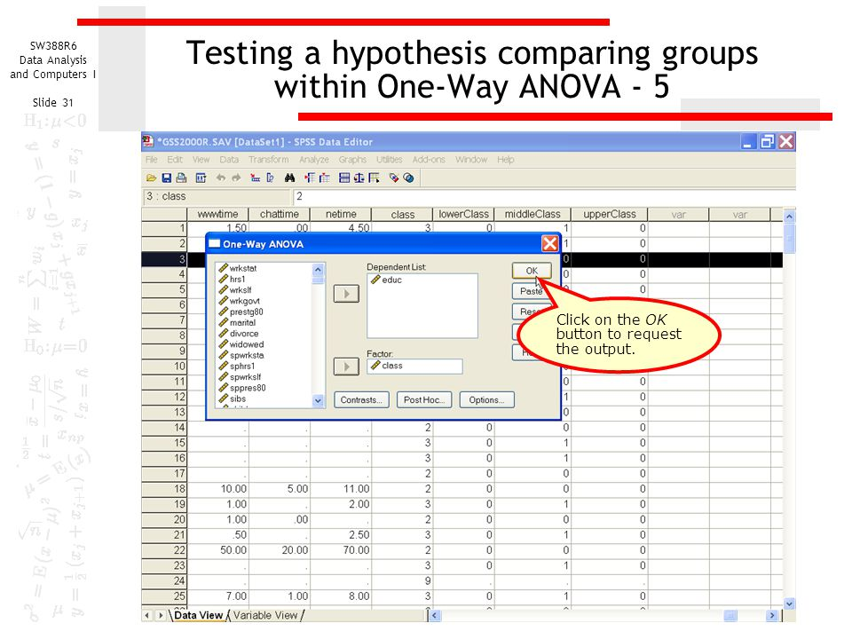 Testing a hypothesis comparing groups within One-Way ANOVA - 5