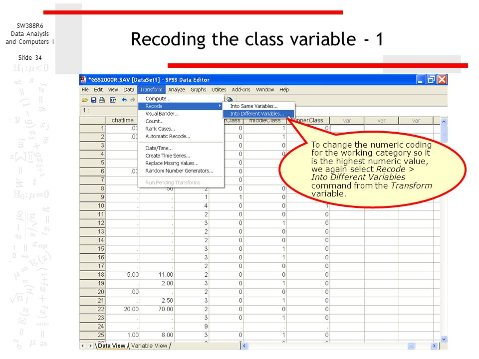 Recoding the class variable - 1