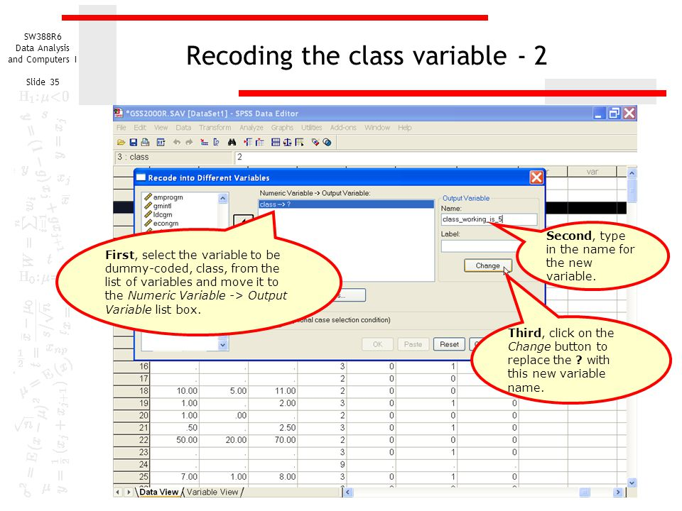 Recoding the class variable - 2