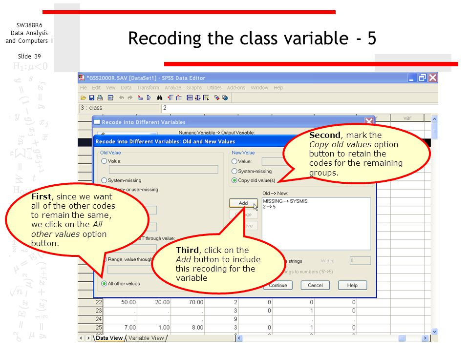 Recoding the class variable - 5