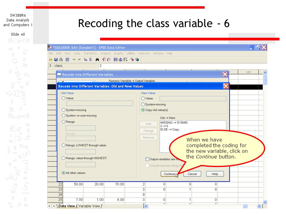 Recoding the class variable - 6