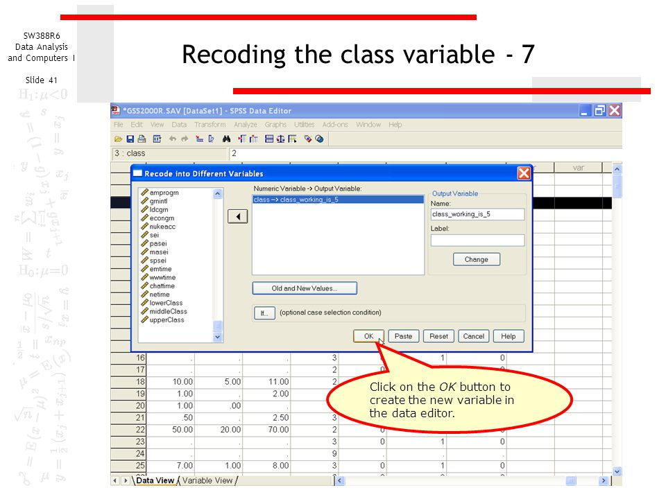 Recoding the class variable - 7
