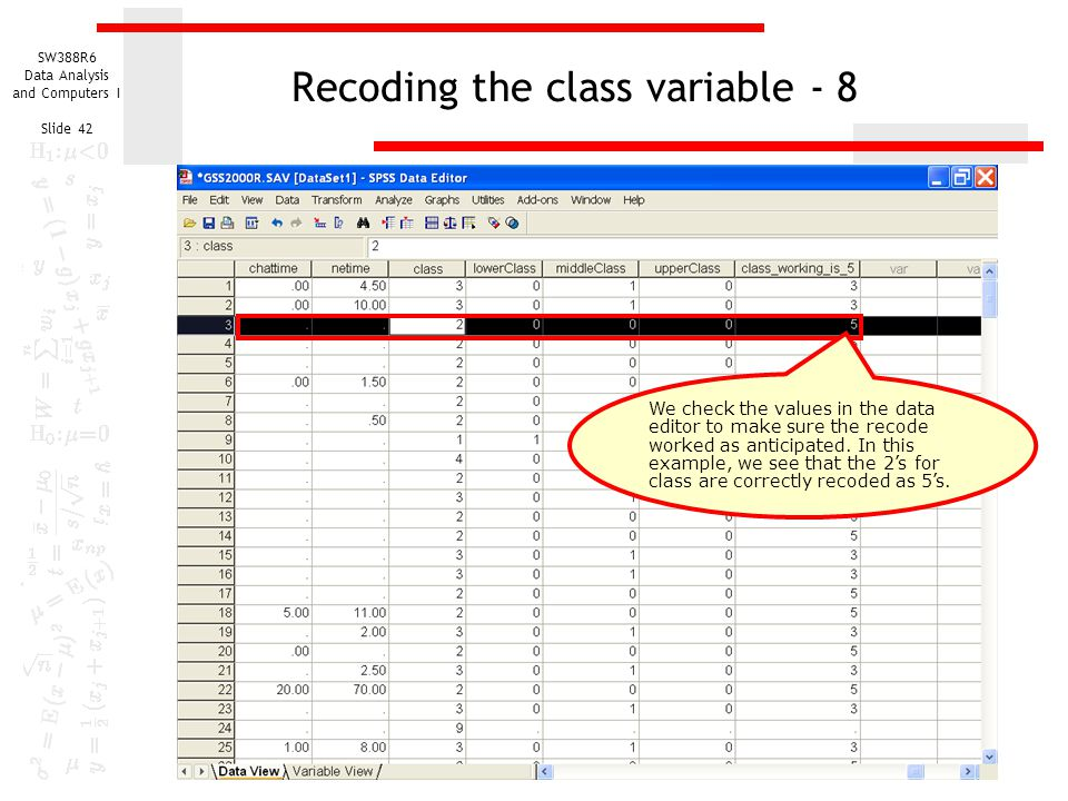 Recoding the class variable - 8