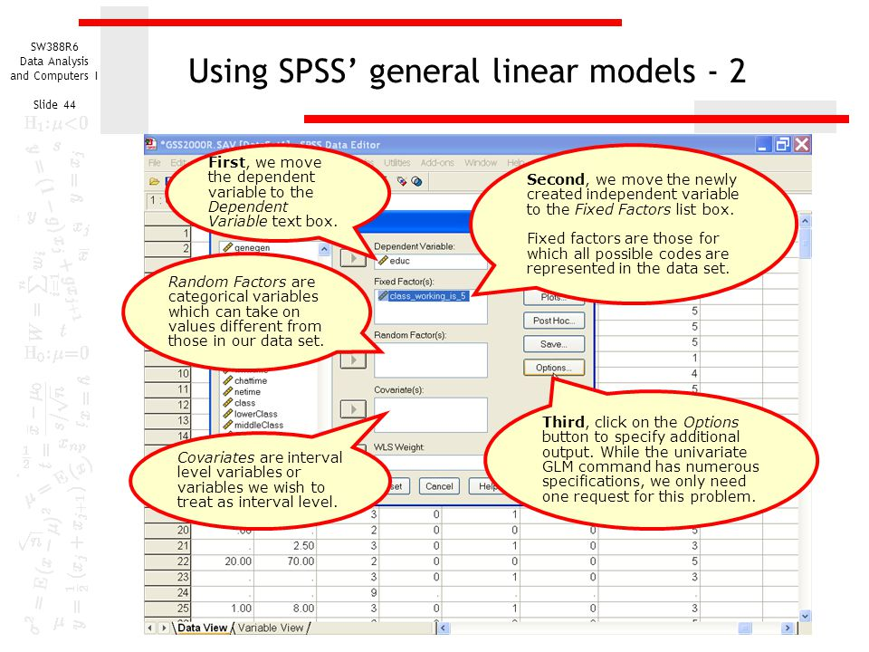 Using SPSS' general linear models - 2