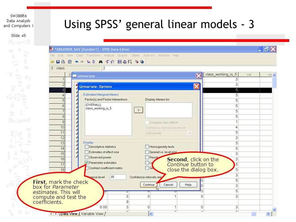 Using SPSS' general linear models - 3
