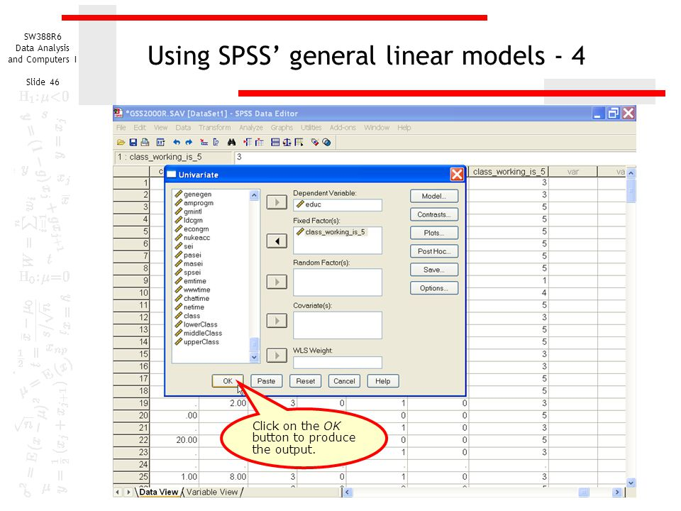 Using SPSS' general linear models - 4
