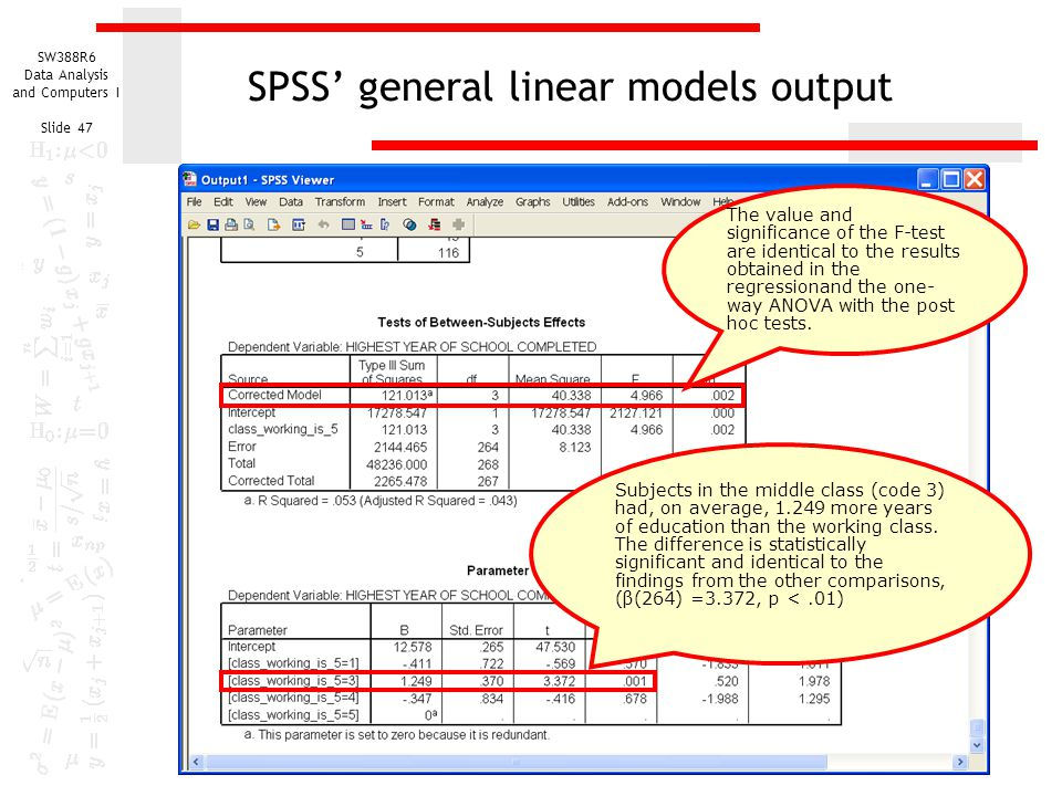 SPSS' general linear models output