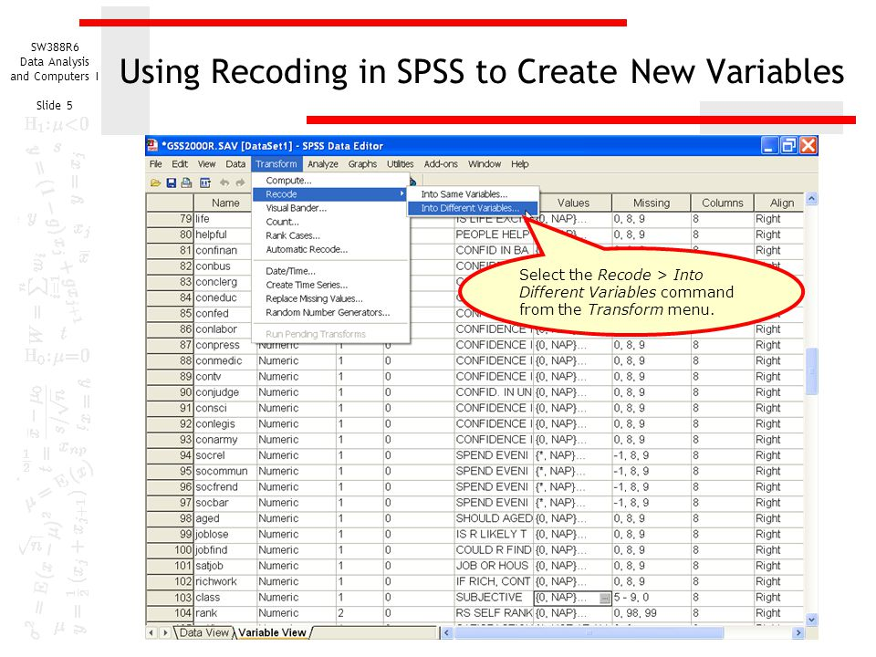 Using Recoding in SPSS to Create New Variables