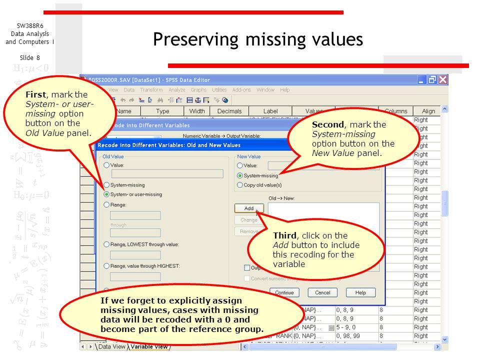 Preserving missing values