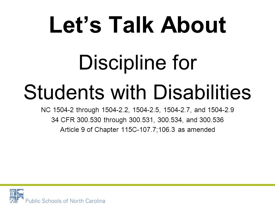 Let's Talk About Discipline for Students with Disabilities