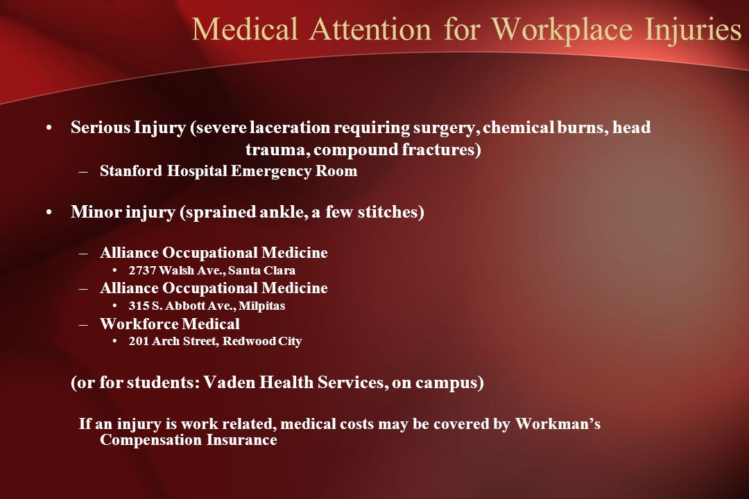Medical Attention for Workplace Injuries