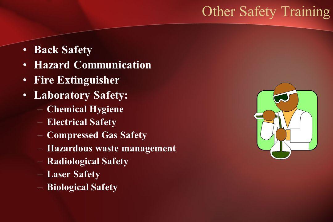 Other Safety Training Back Safety Hazard Communication