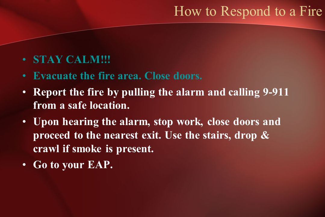 How to Respond to a Fire STAY CALM!!!