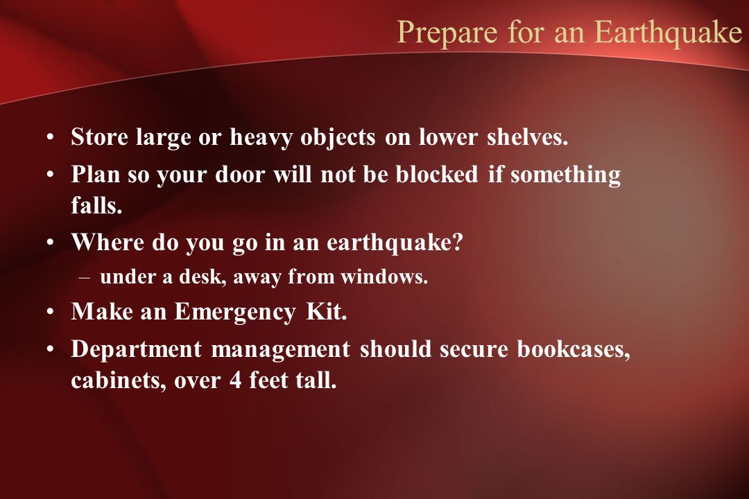 Prepare for an Earthquake