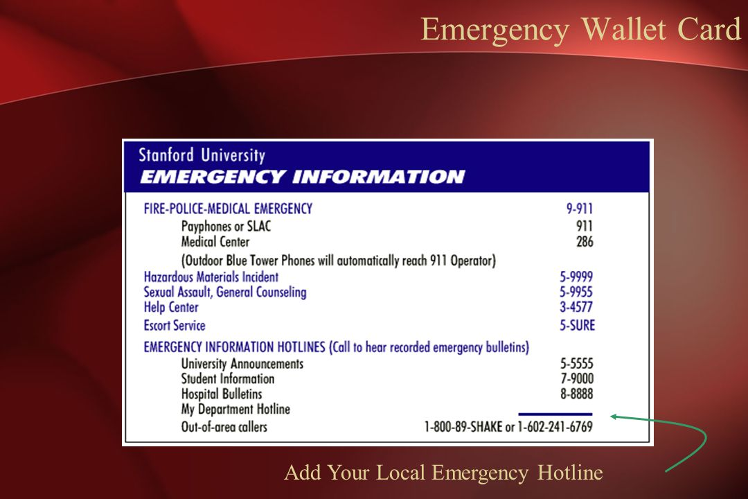 Emergency Wallet Card Add Your Local Emergency Hotline