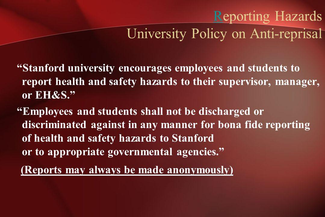 Reporting Hazards University Policy on Anti-reprisal