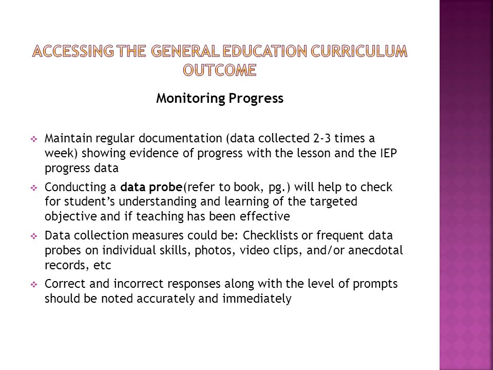 Accessing the general education curriculum outcome