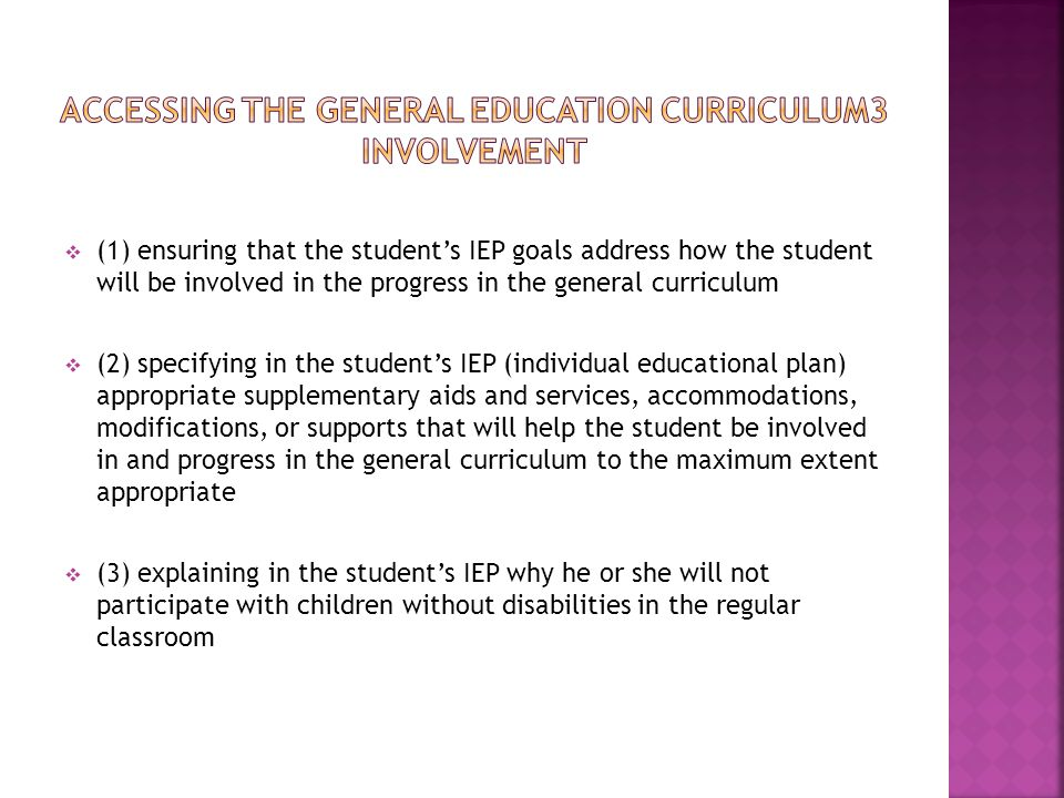 Accessing the general education curriculum3 Involvement