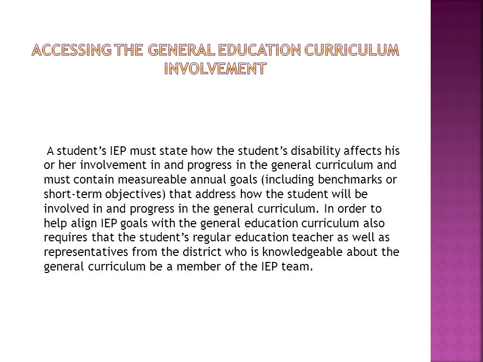 Accessing the general education curriculum involvement