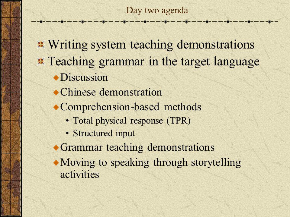 Writing system teaching demonstrations