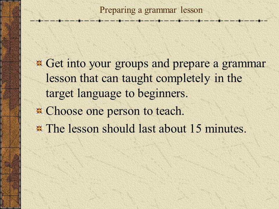 Preparing a grammar lesson