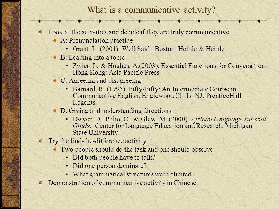 What is a communicative activity