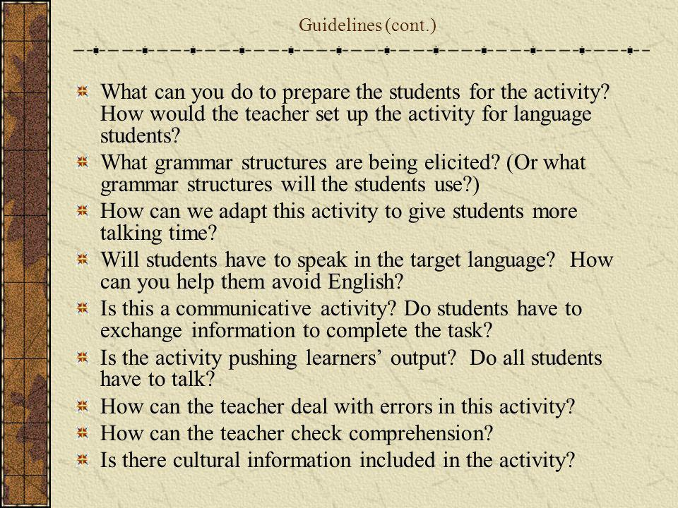How can we adapt this activity to give students more talking time