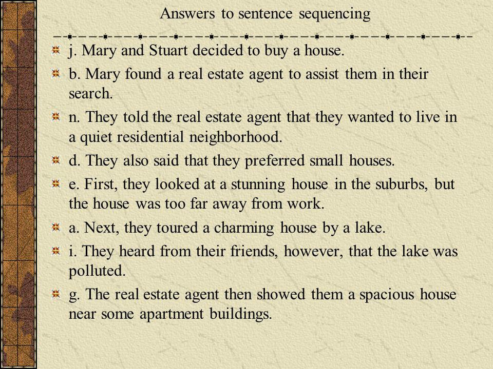 Answers to sentence sequencing