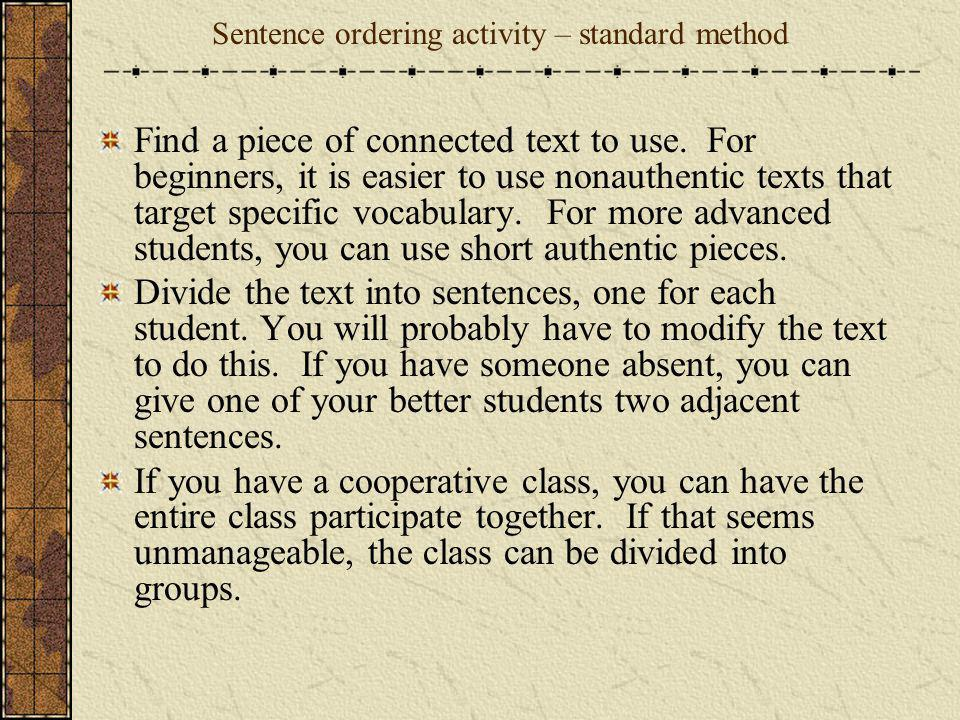 Sentence ordering activity – standard method
