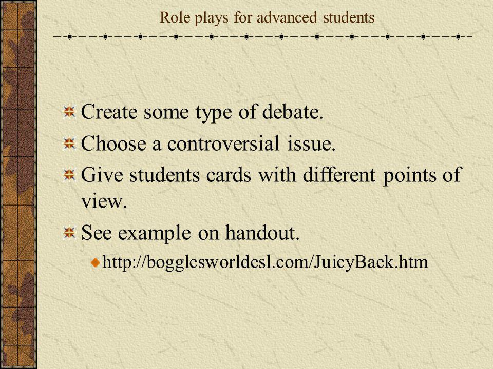 Role plays for advanced students