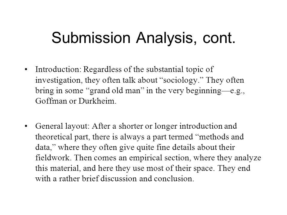 Submission Analysis, cont.