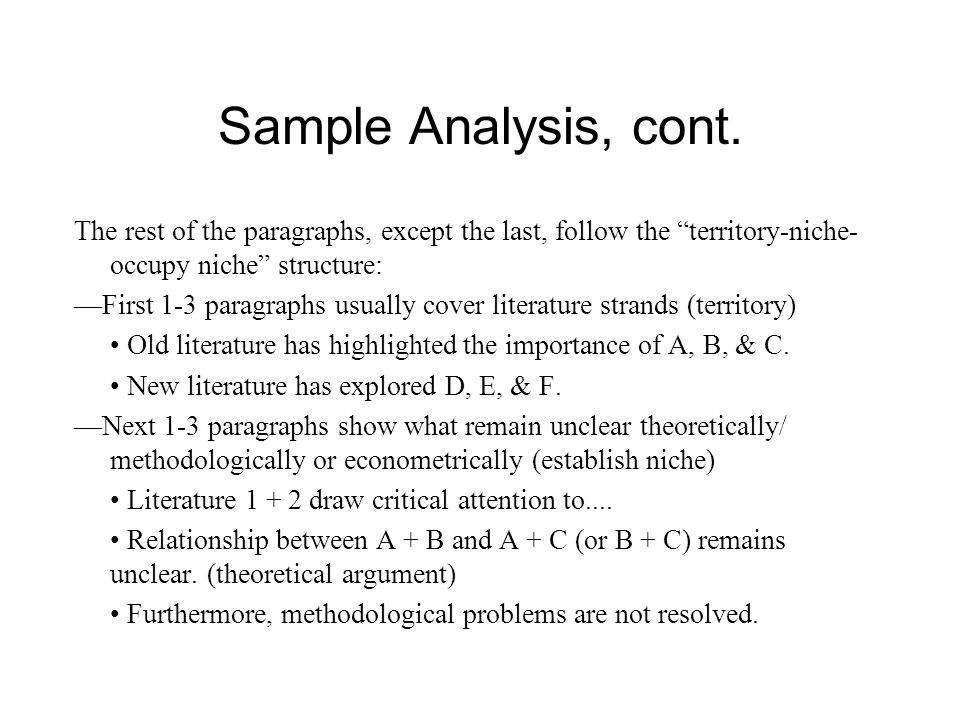 Sample Analysis, cont. The rest of the paragraphs, except the last, follow the territory-niche-occupy niche structure: