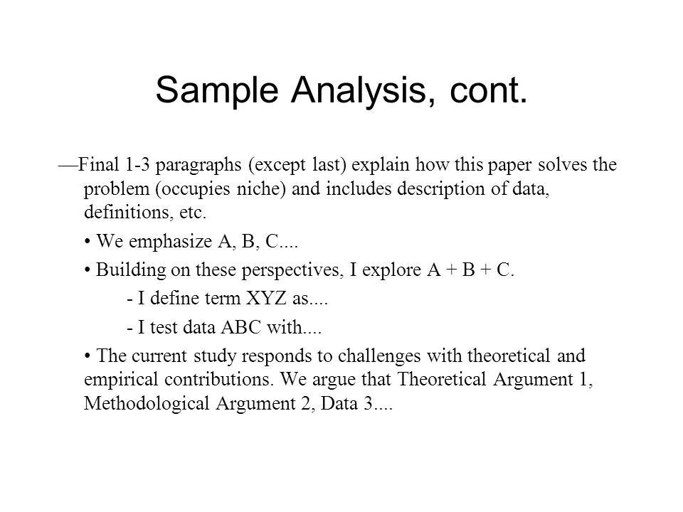 Sample Analysis, cont.