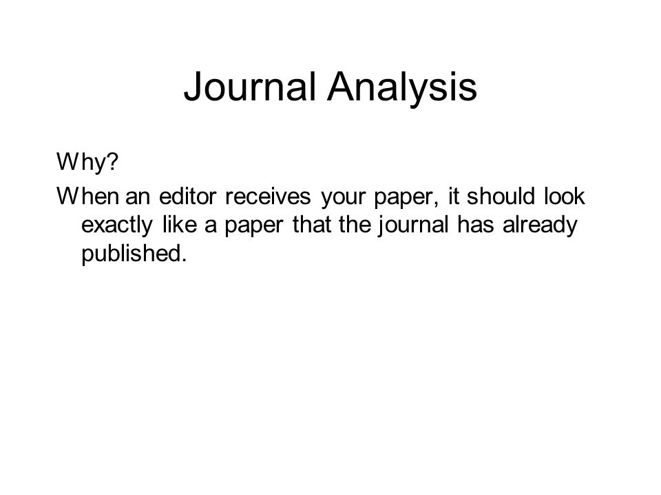 Journal Analysis Why.