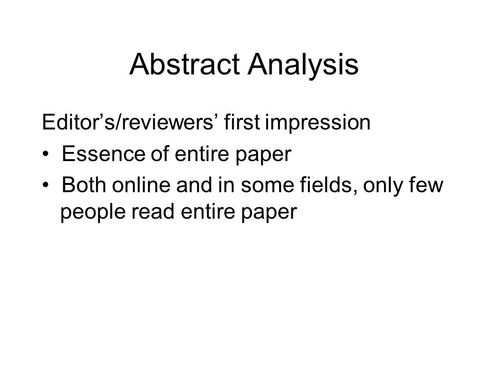Abstract Analysis Editor's/reviewers' first impression