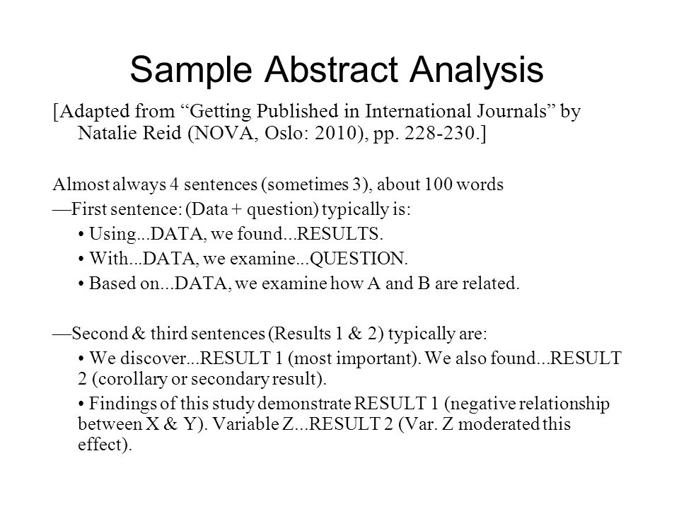 Sample Abstract Analysis