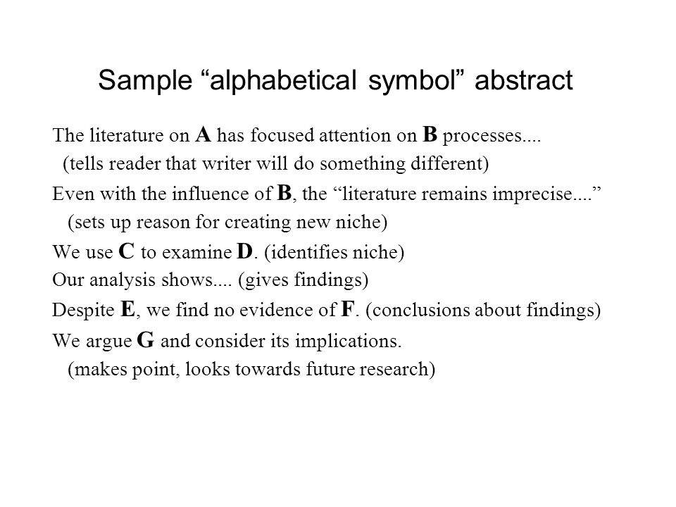Sample alphabetical symbol abstract
