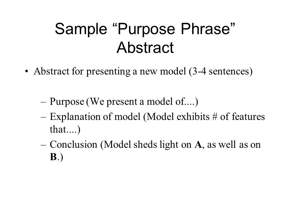 Sample Purpose Phrase Abstract