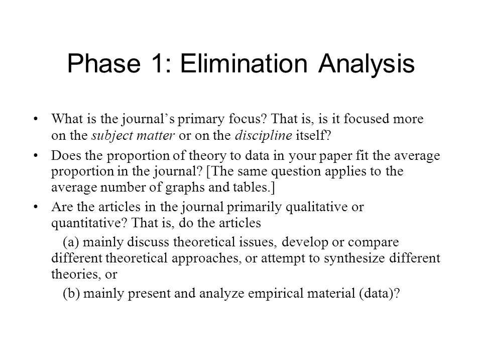 Phase 1: Elimination Analysis