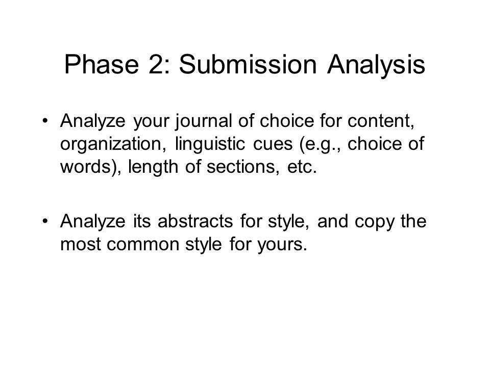 Phase 2: Submission Analysis