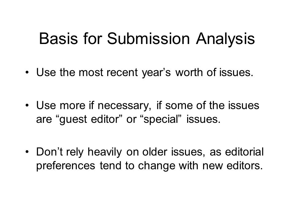 Basis for Submission Analysis