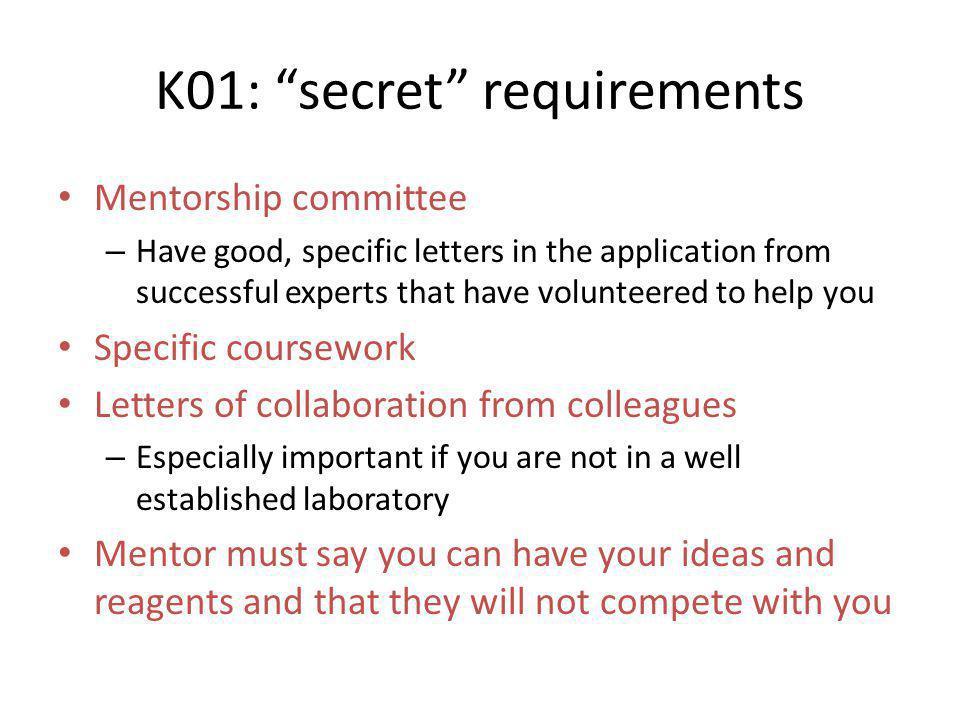 K01: secret requirements