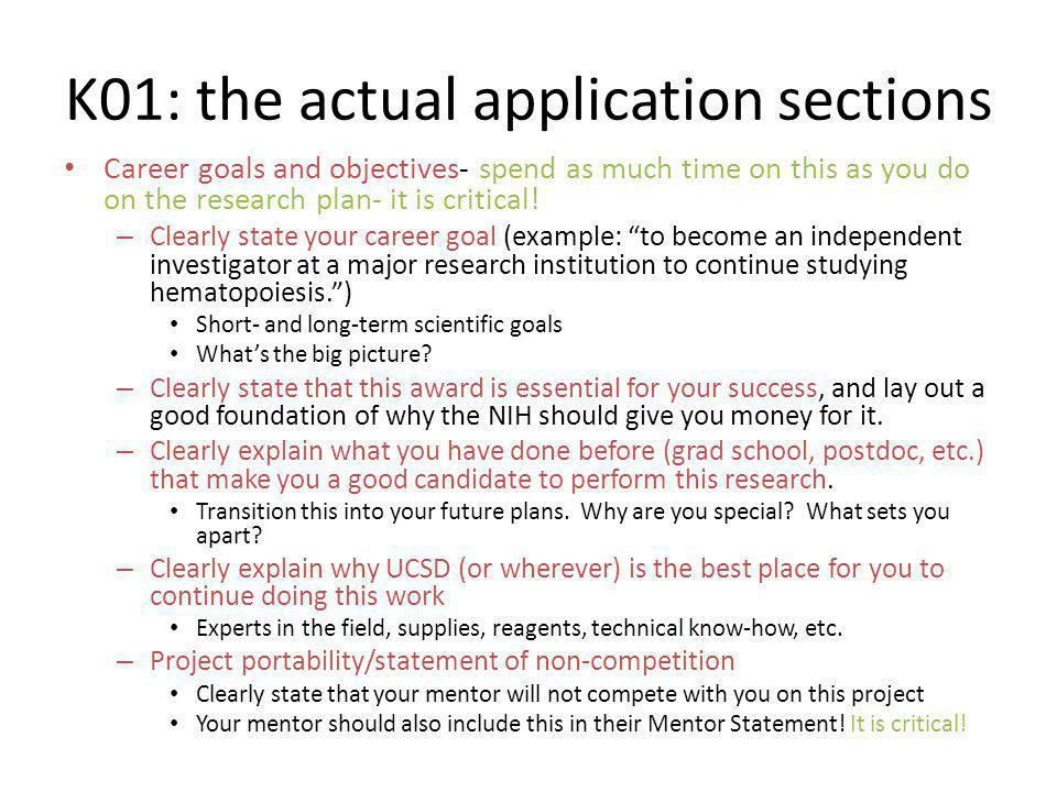 K01: the actual application sections