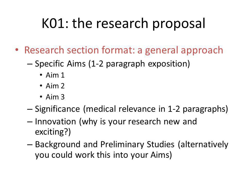 K01: the research proposal