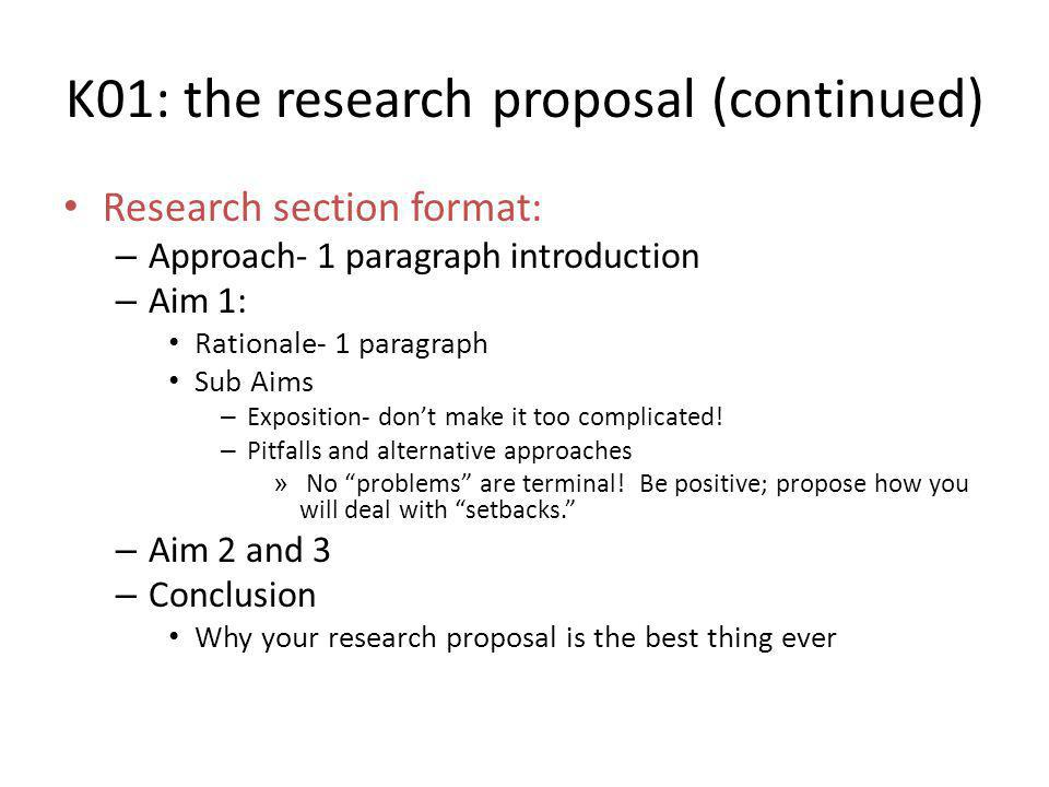 K01: the research proposal (continued)