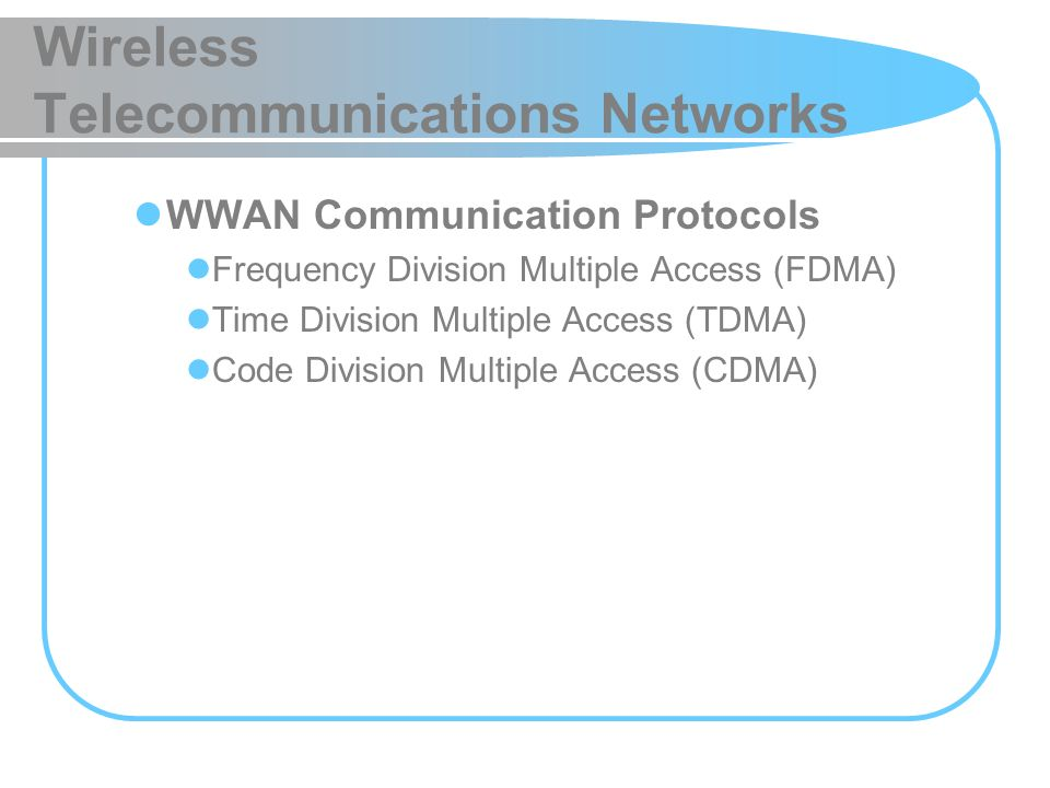 Wireless Telecommunications Networks