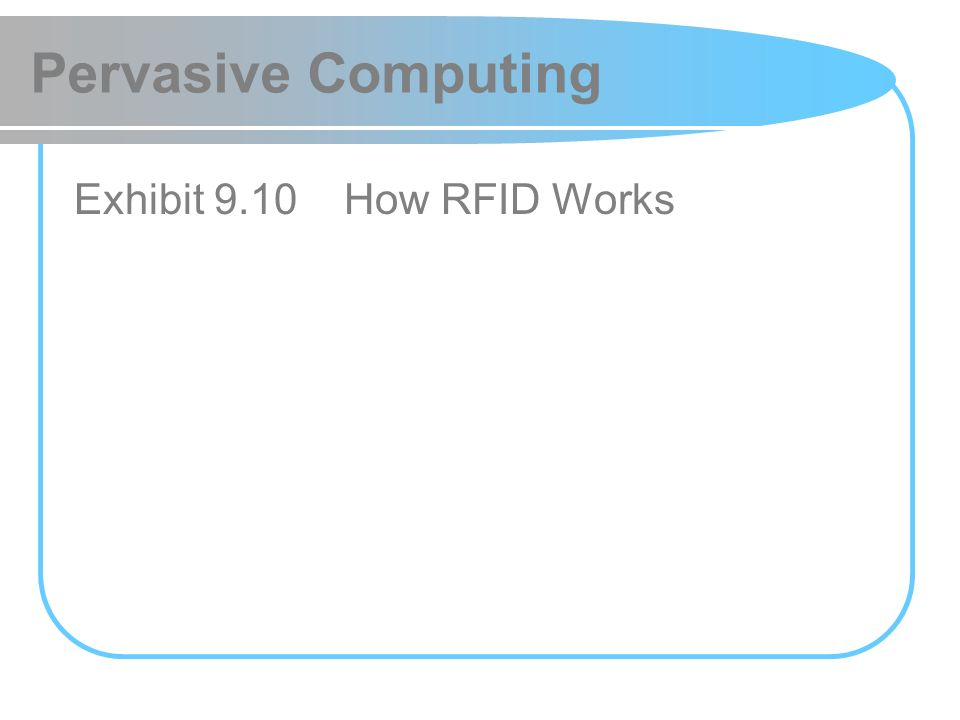 Pervasive Computing Exhibit 9.10 How RFID Works