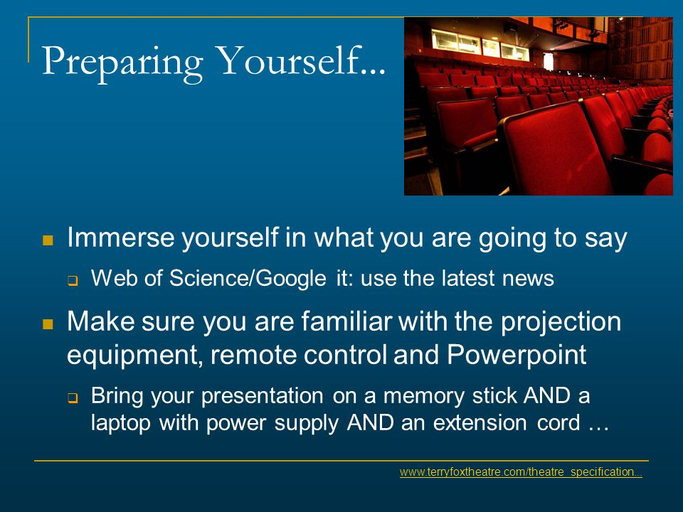 Preparing Yourself... Immerse yourself in what you are going to say